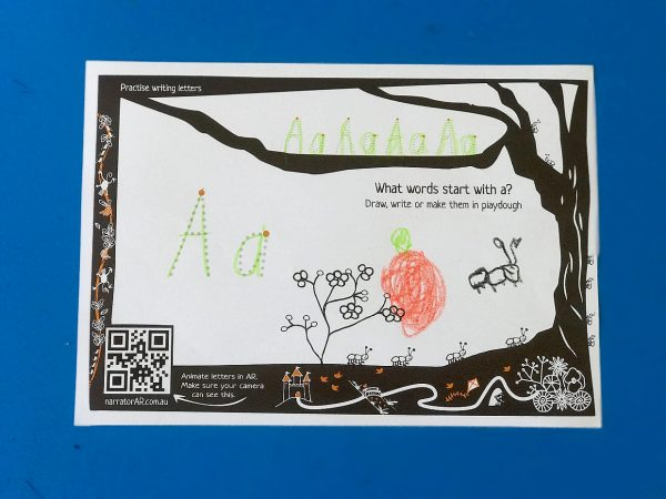 AR write and make letters Aa, Bb, Cc
