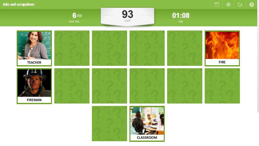 Memory Game Educaplay